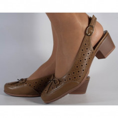 Pantofi office perforati maro (cod 15-131074)