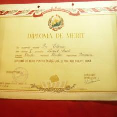 Diploma Merit pe carton Liceul Mixt Resita 1954 ,cl.X