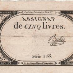 Franta 5 Livres 31,10,1793  P.A76  VF-