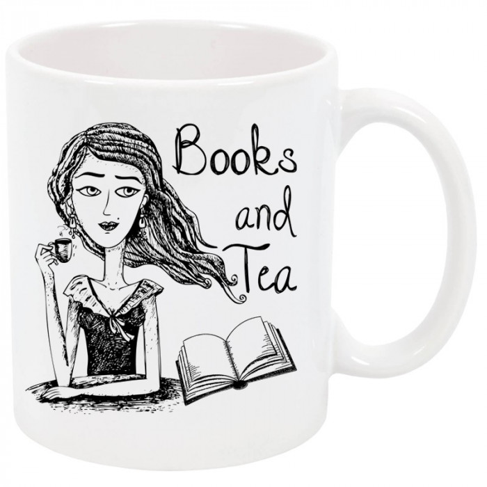 Cana personalizata Books and Tea, ceramica alba, 325 ml