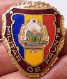 I.484 ROMANIA RSR INSIGNA MILITARA MILITAR DE FRUNTE h35mm email VARIANTA MICA, Romania de la 1950