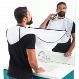 Pelerina cu ventuze pentru tuns barba, 120x80cm, alb