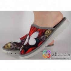 Papuci de casa gri dame, din plus cu talpa cu memorie 191057