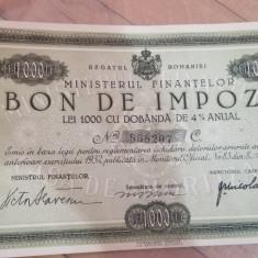 Bon de impozit 1000 lei anul 1933