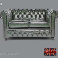 Canapea din piele naturală-2 locuri-Verde Antique-Autentic Chesterfield Brand