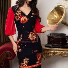 Rochie neagra eleganta cu imprimeu in relief
