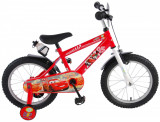 Biciclete baieti Disney Cars, 16 inch, culoare rosu/alb, frana de mana + contraPB Cod:11648-GA