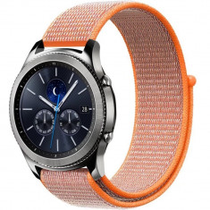 Curea ceas Smartwatch Samsung Gear S2, iUni 20 mm Soft Nylon Sport, Electric Orange