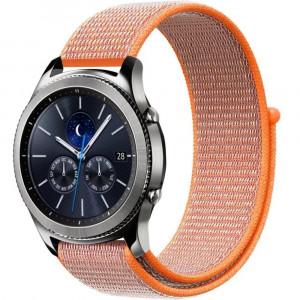 Curea ceas Smartwatch Samsung Gear S3, iUni 22 mm Soft Nylon Sport, Electric Orange