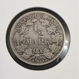 Germania,  ½ Mark A - Wilhelm II,  1905 A,  Ag .900, Europa, Argint