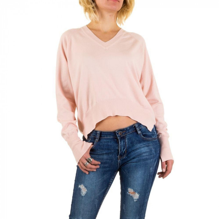 Pulover tricotat, de culoare roz, usor asimetric - Jcl Paris