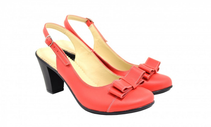 Pantofi dama eleganti, decupati din piele naturala - S100ROSU
