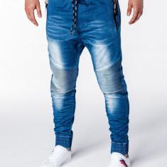 Blugi pentru barbati albastri cu siret elastici semi tur slim fit banda jos P649