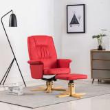 VidaXL Fotoliu cu taburet, roșu, piele ecologică
