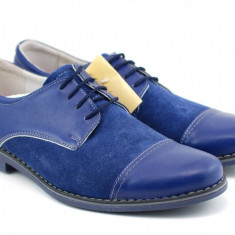 Pantofi albastri barbati casual - eleganti din piele naturala Marimea 40