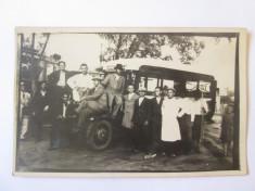 Rara! Fotografie carte postala Agfa microbuz transport public Bucuresti anii 30 foto