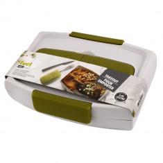 Cutie alimentara+tacamuri Fuel, BPA free, cu capac, Bej/Verde