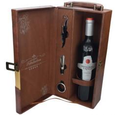 Cutie cadou tip cufar pentru vin, model Premium cu maner si accesorii incluse,...