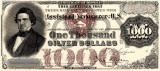 1000 dolari 1878 Reproducere Bancnota USD  ,   Dimensiune reala 1:1