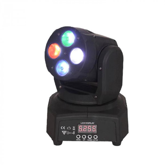 Proiector Moving head tip wash, 4 LED-uri RGBW, 8 programe integrate, 4 x 10 W