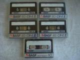 Lot 5 Casete Audio BASF CrO2 - Inregistrate o singura data - 40