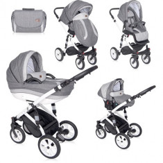 Carucior Set 3 in 1 Mia Light & Dark Grey, Lorelli