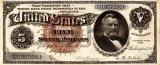 5 dolari 1886 Reproducere Bancnota USD , Dimensiune reala 1:1