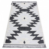 Covor MAROC H5157 Aztec, Etnic alb / negru Franjuri Berber shaggy, 180x270 cm