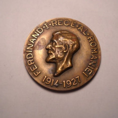 Medalie  Regalista Unifata -Regele Ferdinand I Al Romaniei 1914 - 1927, D -49 mm