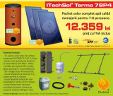 Pachet solar (kit) complet apa calda menajera pentru 7-8 persoane, 400 litri...