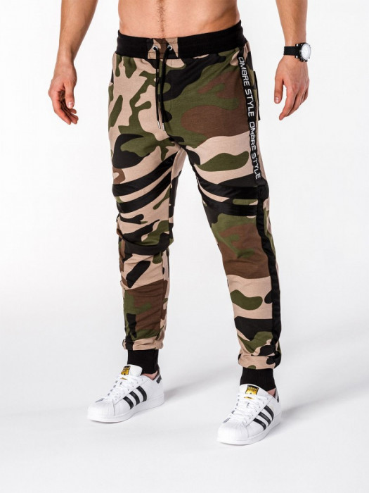 Pantaloni pentru barbati, camuflaj verde, stil militar, army, slim, cu banda, siret si buzunare - P665