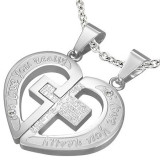 Pandantiv din oțel inoxidabil pentru cupluri – rugăciune, cruce, inimă