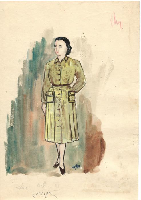 Personaj Katia, costum spectacol, tehnică mixta, 21x29 cm, teatru, scenografie