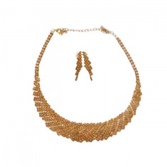 Set elegant de bijuteri,colier oval si cercei,nuanta de auriu