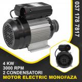 Motor electric monofazat 4000W 3000 rpm, 2 condensatori, corp aluminiu bobinaj cupru, DDT
