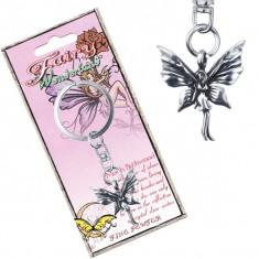 Pandantiv metalic pentru chei - zână a fluturilor în picioare cu patină