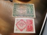 2 KRONEN 1922 TEAPAN +100 KRONEN 1922+CADOU 100000 LEI 1946