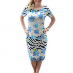 Rochie de zi masura mare, imprimeu floral de nuanta albastra