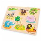 Puzzle lemn Safari 9 piese NEW, New Classic Toys