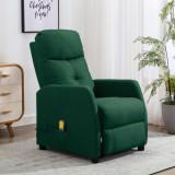 VidaXL Fotoliu de masaj rabatabil, verde închis, material textil