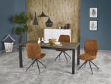 Set masa extensibila din metal cu blat din ceramica Horizon Grey / Black + 4 scaune K237 Brown, L120-180xl85xH76 cm