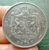 ROMANIA - 5 Lei 1883 . Argint . Destul de rara in aceasta stare