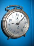 8072-Ceas vechi Jaz France alarm SGDG Mouvement functional metal stare buna.