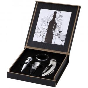 Set accesorii vin 4 piese, Everestus, BO, lemn si metal, negru, argintiu, saculet de calatorie inclus