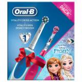 Set Periuta de dinti electrica Oral B Vitality & Periuta de dinti electrica Frozen, 7600 rotatii