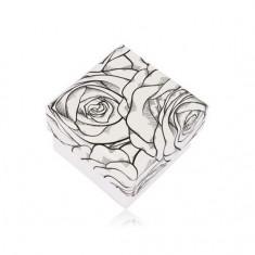 Cutie pentru cercei sau inel, model cu trandafiri negri pe fundal alb
