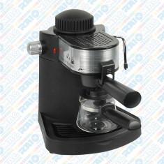 Espressor pentru cafea Hausberg , capacitate 4 cești, espresso și cappuccino, 650W, Negru