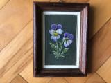 Tablou,pictura miniaturala,acuarela ,panselute, Flori, Altul