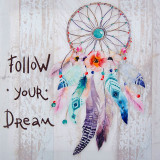 Tablou decorativ Follow your Dream, 30 x 30 cm, model Dream Catcher