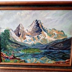Tablou - pictura ulei - semnata - peisaj - munte rama, Natura, Realism
